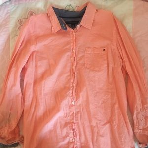 Tommy Hilfiger Peach Gingham Button Down